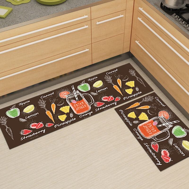 i@home Household rectangular crystal velvet fruit non-slip kitchen mat sets