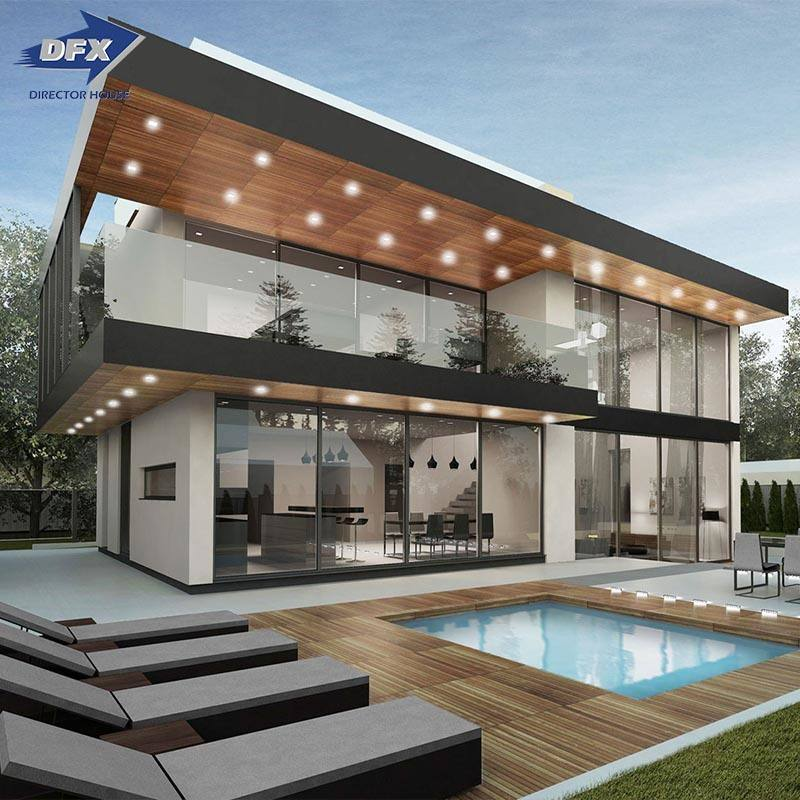 Modern and luxury design light steel fame prefabricated house villa modular home with 4 bedrooms and 4 bathroom for sale