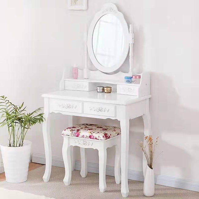 White wooden corner dressing table mirror and stool