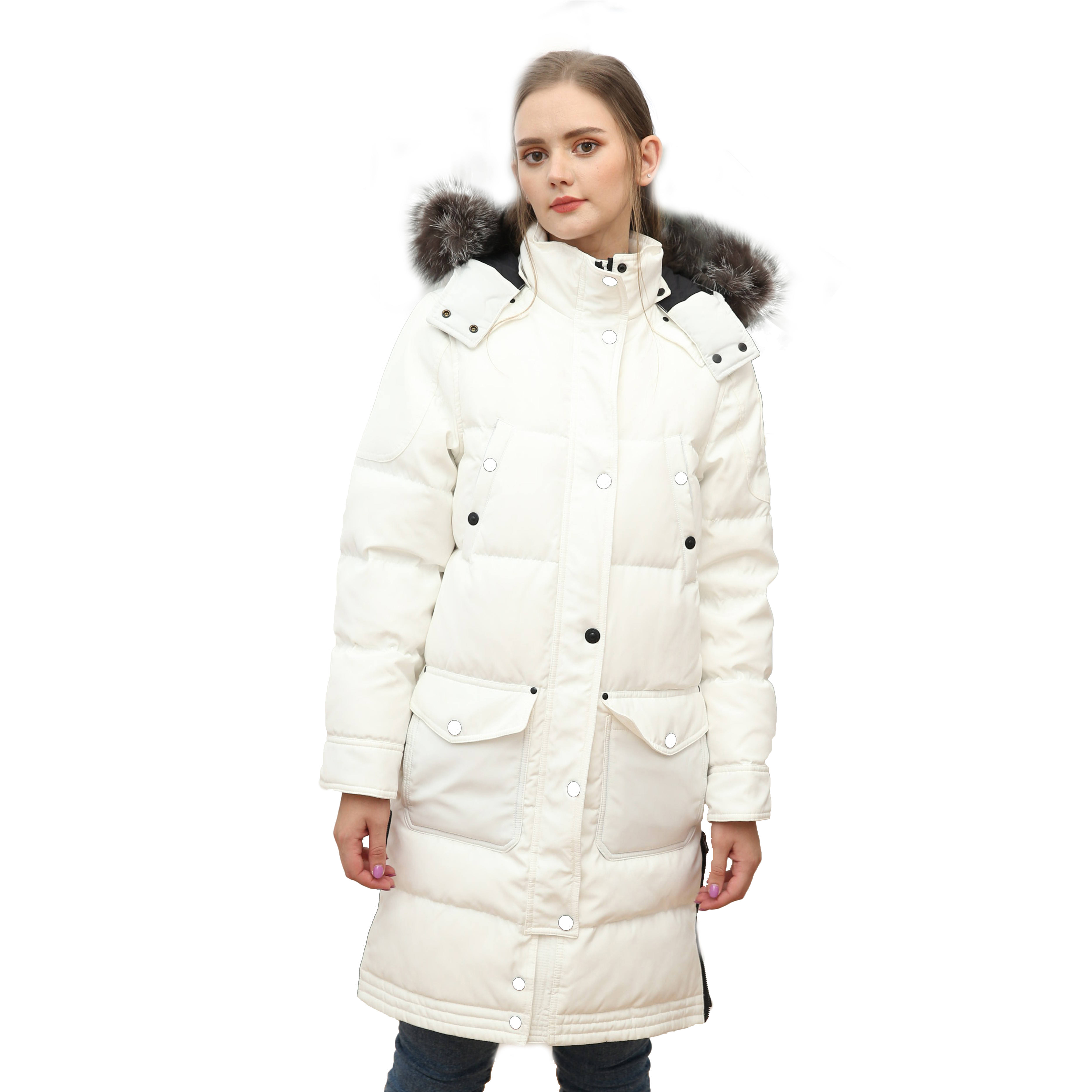 New Arrival White Down Coat Popular Thick Outwear Winter Girls Long Puffer Jacket With Brown With White Tips Fox Fur Collar