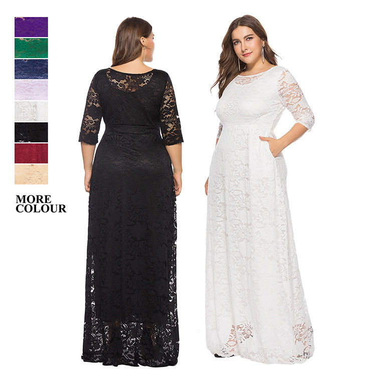 Widely used superior quality trendy fall clothing for plus size women lace evening dress plus size