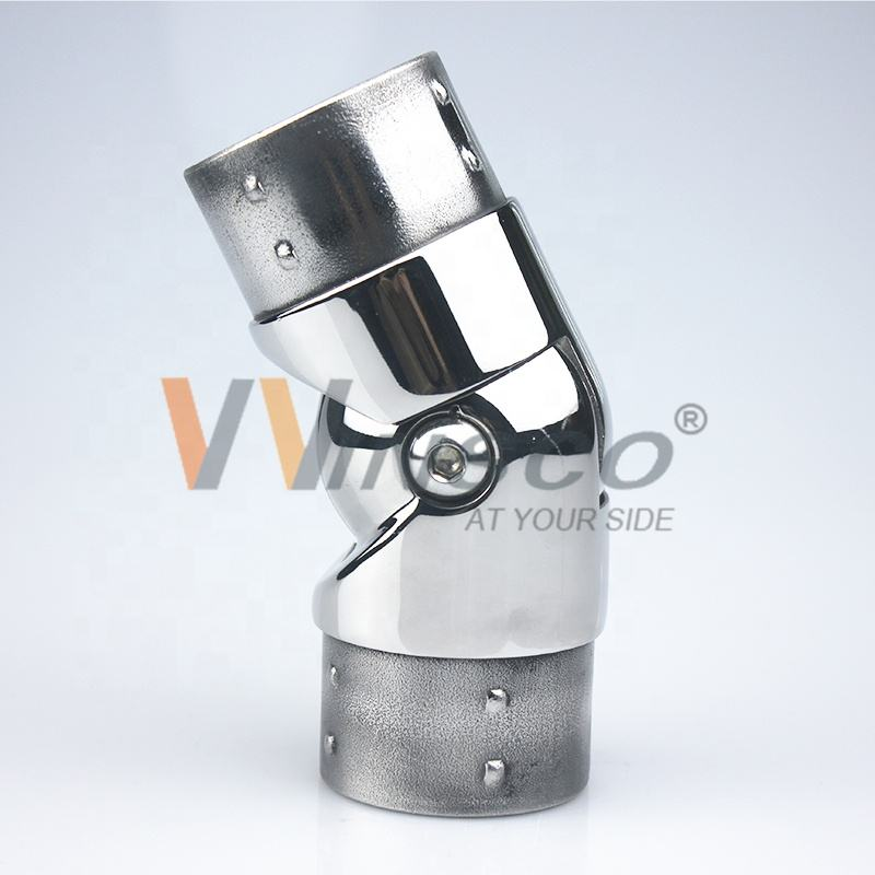 Top Grade 304 316L Adjustable Mirror Finish Polished Stainless Steel Fitting Railing Handrail Tube Corner Connector For Building