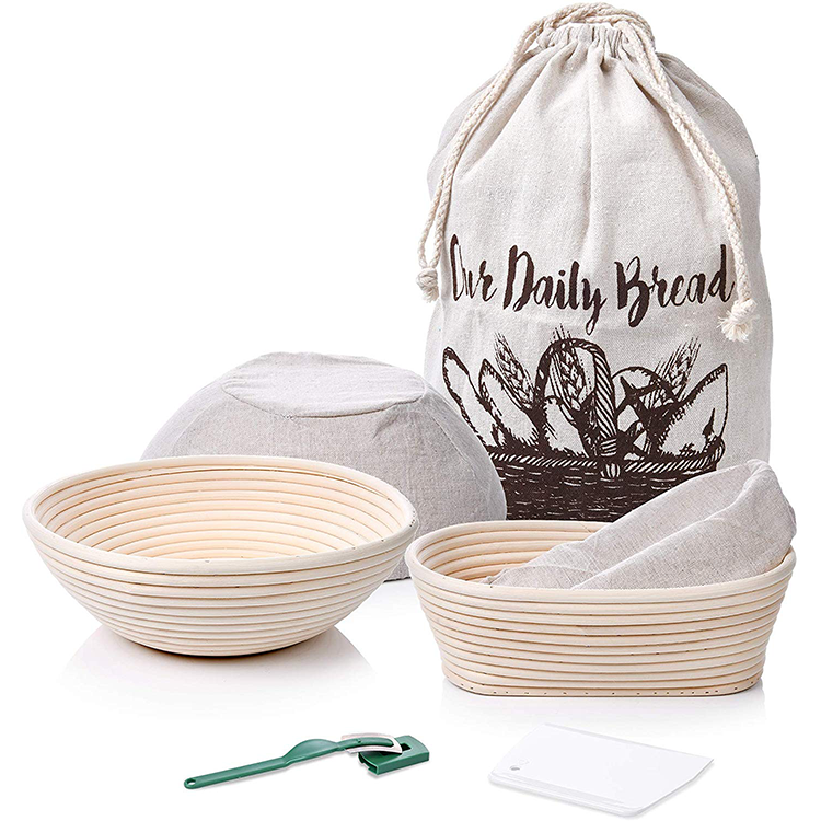 9 inch proofing basket banneton baking kit with dough scraper and bread lame