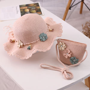 Rural Style Flounce Ribbon Flower Parent-child Sun Hat Bag Suit Summer Beach Wide Brim Straw Hat For Women Girl customized