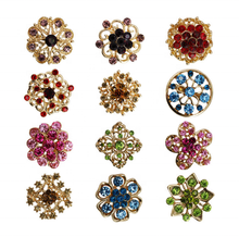 Green Color Rhinestones Flower Brooch Wedding Bouquets Alloy Crystal Designer Brooches And Pins Women Jewelry