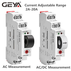 GEYA GRI8-05B DC Current Relay Measuring 2A-20A Over current Under current by Potentiometer Supply Voltage AC/DC24V-240V