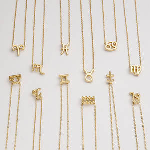 Female Elegant Stainless Steel 12 Constellation Zodiac Sign Necklace Pendants Charm Gold Chain Choker Astrology Necklaces