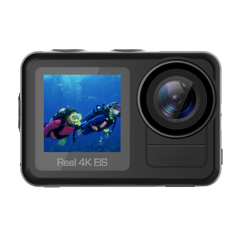Real 4K 60fps 5M body waterproof action camera with 2.0 inch and 1.4 inch dual color screen underwater action camera