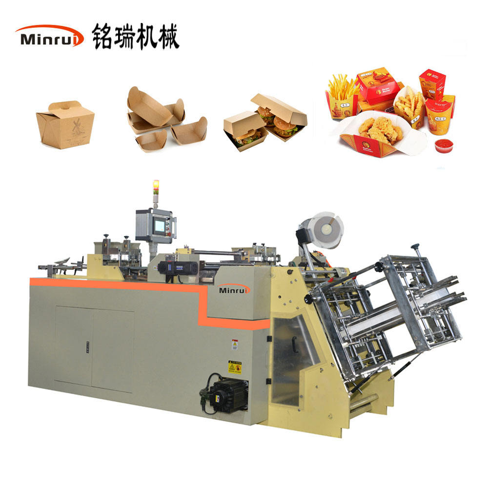 MR-800C High Speed Paper Lunch Boxes Making Carton Machine Erecting Cutting Recycle Pizza Food Container Paper Bag Maker