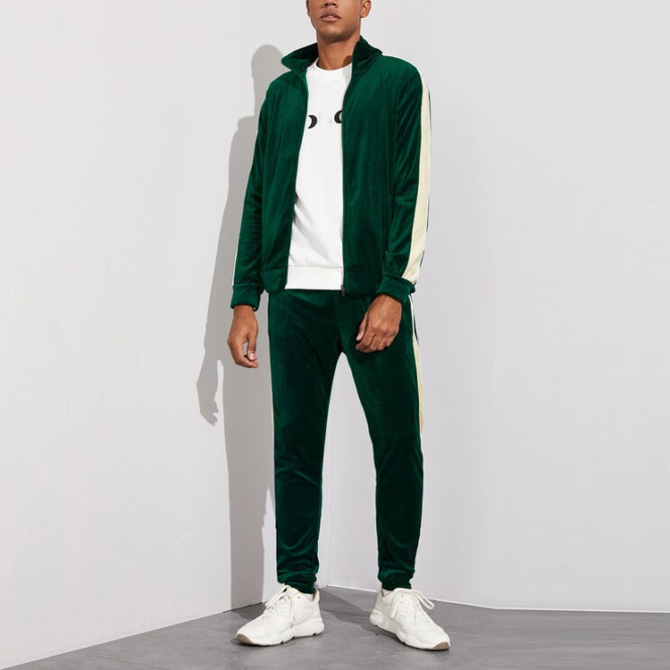 Latest Custom Design Men Stand Collar Velvet Contrast Panel Colorblock Tracksuits