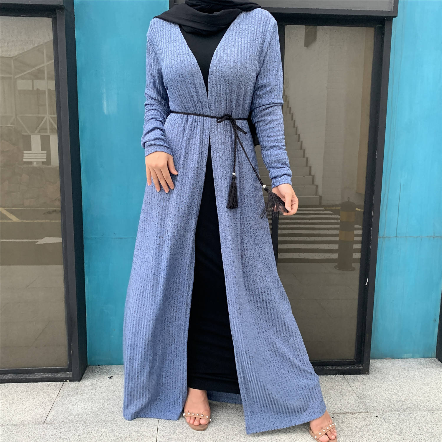 Islamic women clothing abaya kaftan 2020 long sleeve knit sweater coat robe
