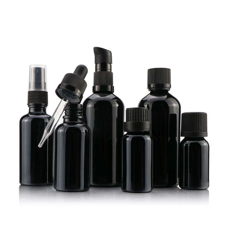 serum pump bottle 30ml luxury cosmetic containers empty cosmetic bottle in black set bottle