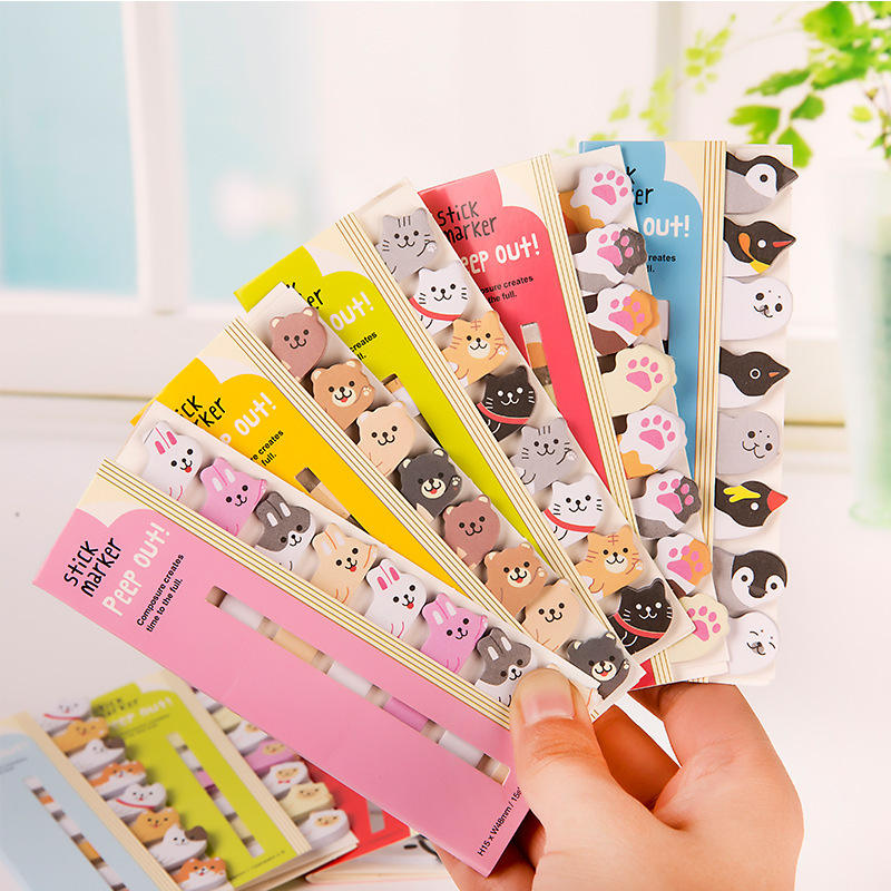 Stationery School Supplies Paper Stickers index Posted It Planner Kawaii Memo Pad Bookmarks Creative Cute Animal Sticky Notes