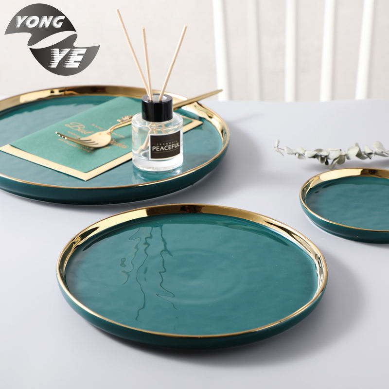 European style gold side green color stackable tableware dinner ceramic plates set of three
