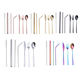 Spoon Straw Stainless Cutlery 304 Stainless Steel Knife And Fork Spoon Stainless Steel Straw Set Portable Cutlery Set Gift Custom