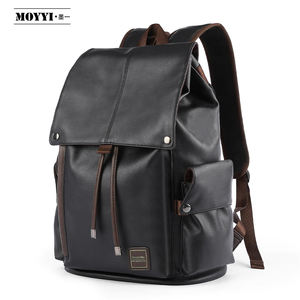 wholesale High capacity waterproof Pu leather man black school backpack for university students