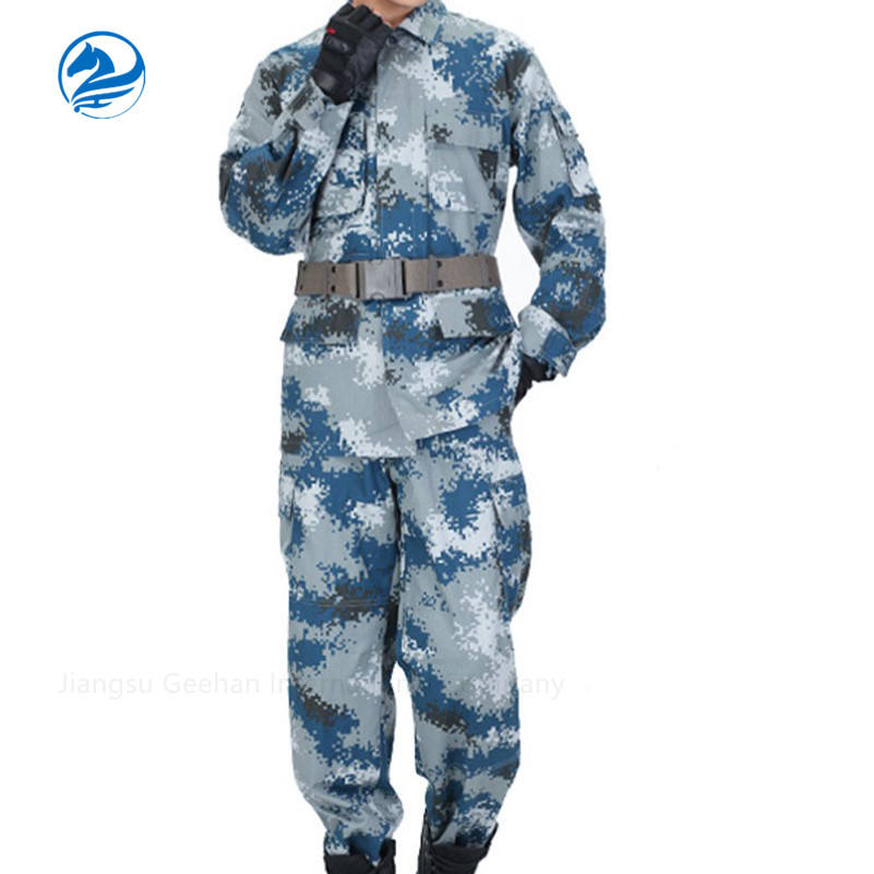 Blue digital camouflage army military uniform