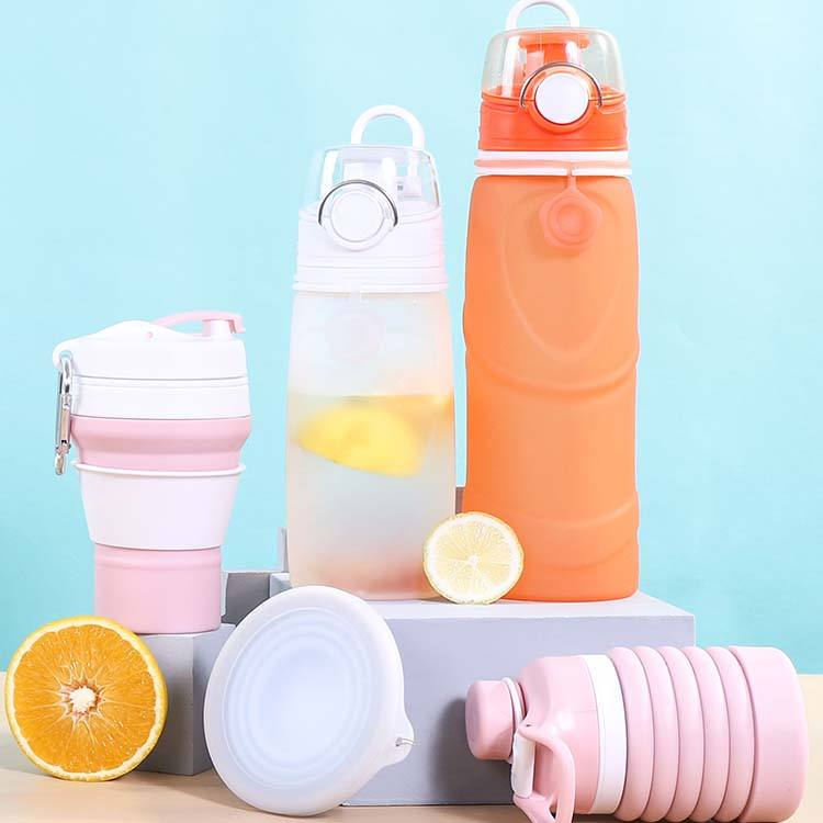 Foldable Silicone Sports Drink Water Bottle Custom Logo Botella De Agua Collapsible Water Bottle