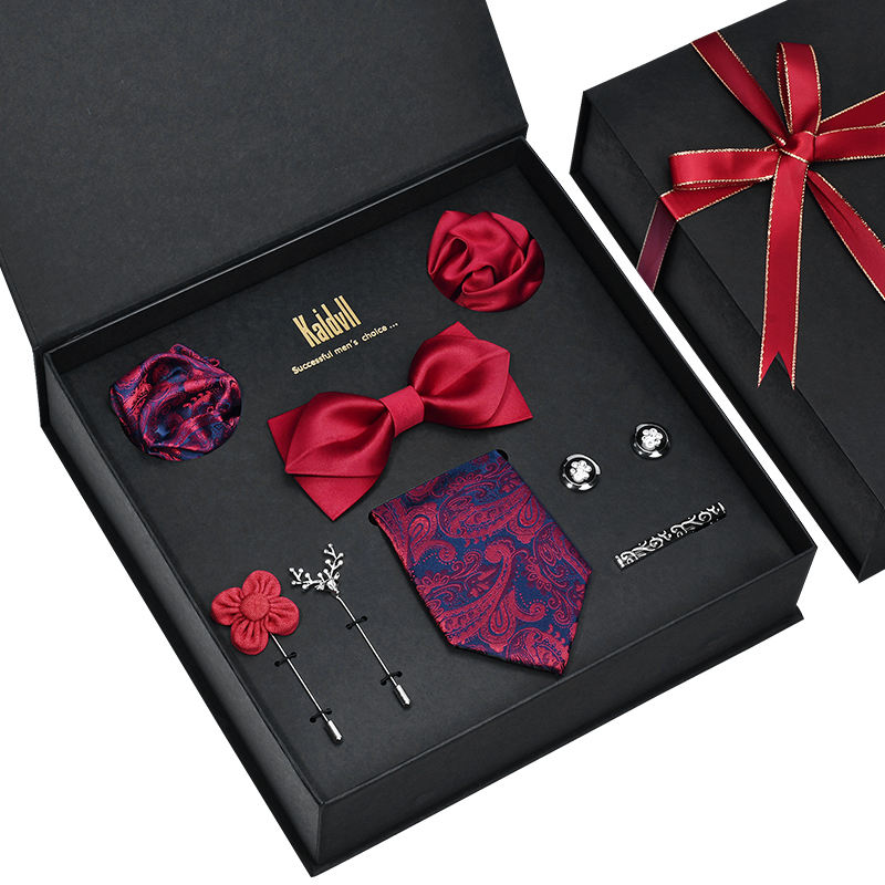High-grade Mens Skinny Ties and Pocket Squares Black Paisley Tie Gift Set Box for Men