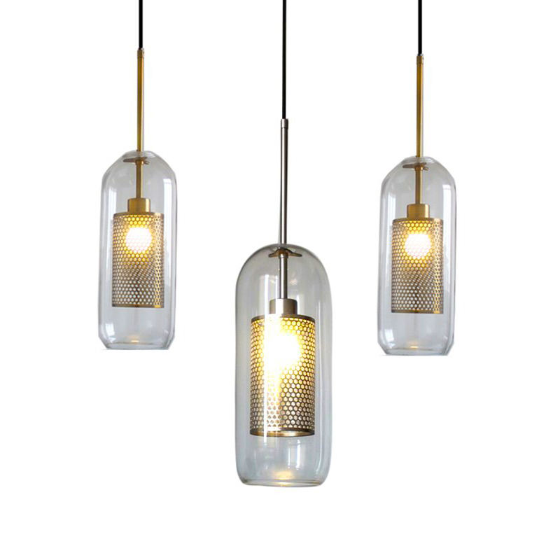 Indoor clear glass vintage hanging chandelier light antique brass gold pendant lamp