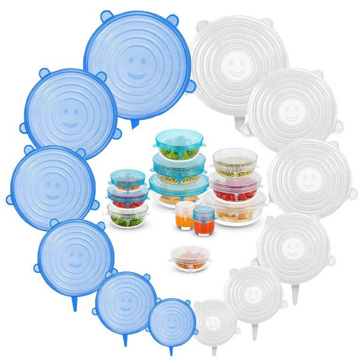 6 Pack Various Sizes Silicone Stretch Lids Reusable Seal Stretch Covers lids for All Containers