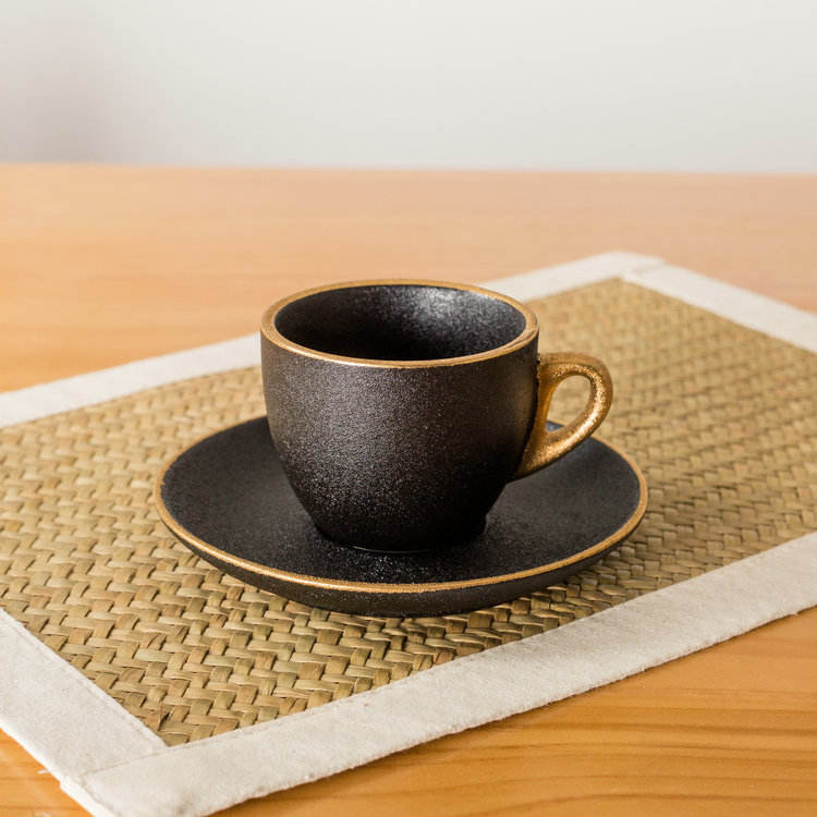 Wholesale high grade frosted black gold handle small ceramic tea espresso cup and saucer