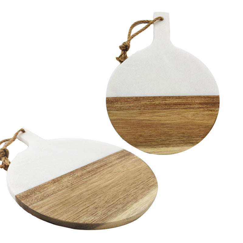 Wholesale Homeware Natural Restaurant Marble Cheese Serving Decorative Dinner Wooden Plate