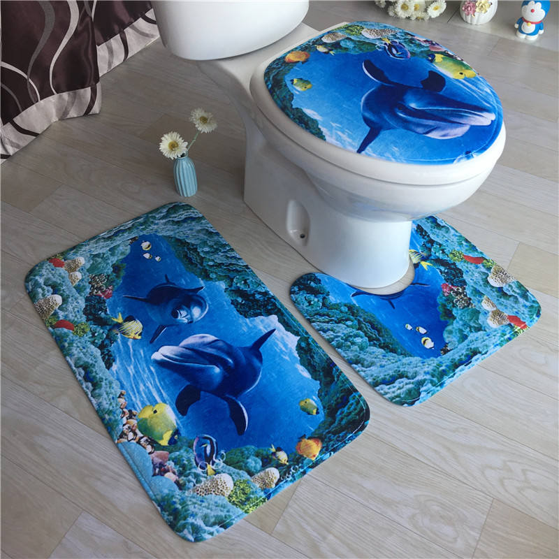 Toilet Cover Seat 3pcs Non-Slip Fish Scale Bath Mat Bathroom Kitchen Carpet Doormats Decor Cushion Toilet Seat Cover Mat
