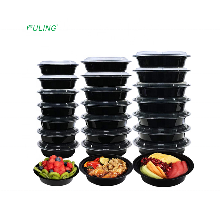 Freshware reusable 24oz 32oz 38oz black round pp plastic meal prep Bowls for salad vegan