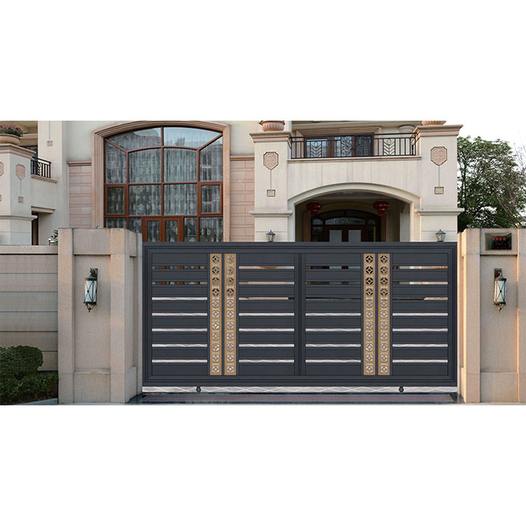 modern casting aluminum slat fence driveway gate horizontal sliding entrance main gate design