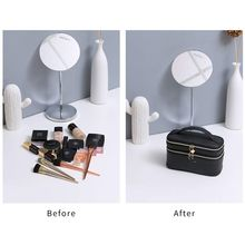 Portable Makeup Train Case 3 Layer Cosmetic Travel Storage Organizer Bag with compartments