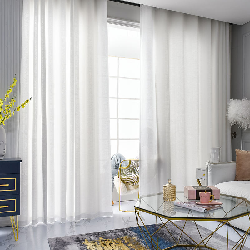 Guangyijia Simple White Sheer Curtain Design Solid Color Cheap Ready Linen Sheer Curtains For Living Room Bedroom