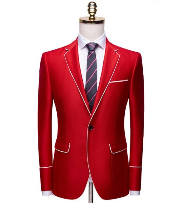 Tailor 2019 fashion solid red notched collar men tuxedo suit