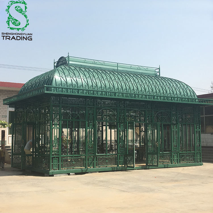 Low Cost Venlo Commercial Victorian Used Garden Metal Glass Orangery Greenhouse