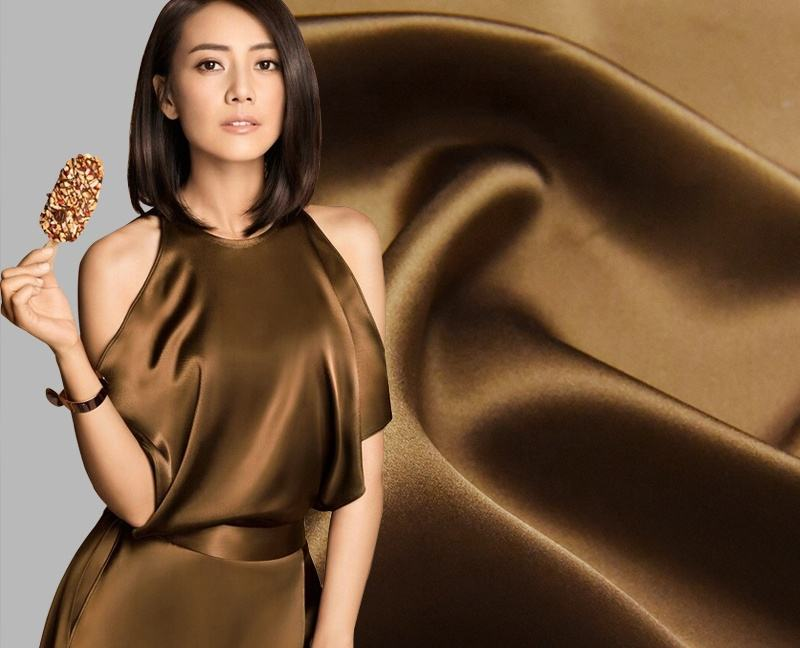 V032 brown wholesale material chinese duchesse pure milk natural plain satin silk fabric