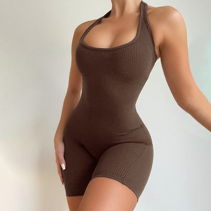 Ribbed U Collar Breathable Jumpsuits Sleeveless Knitted High Waist Skinny Sports Yoga Jumpsuit Women Rompers One Piece Jumpsuit