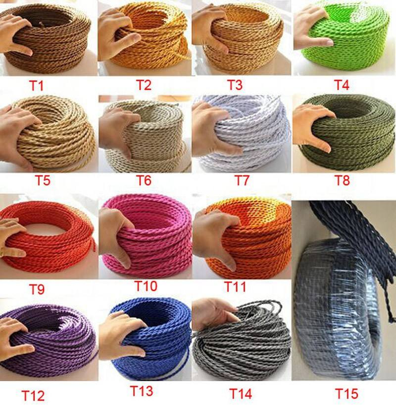 Multi Colorful Twisted Braided Cable 2*0.75 Electric Wire Decor Textile Cable For Light Bulbs