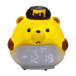 LED Digital Cute Cartoon Kids Animal 6 Shooting Sound Temperature Alarm Clock