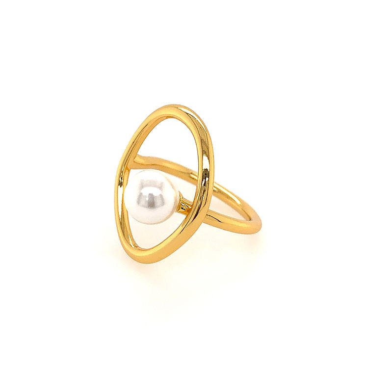 VeFruit Pearl Ring minimalist brass costume real pearl jewelry accessories Private Label 2020 fashion