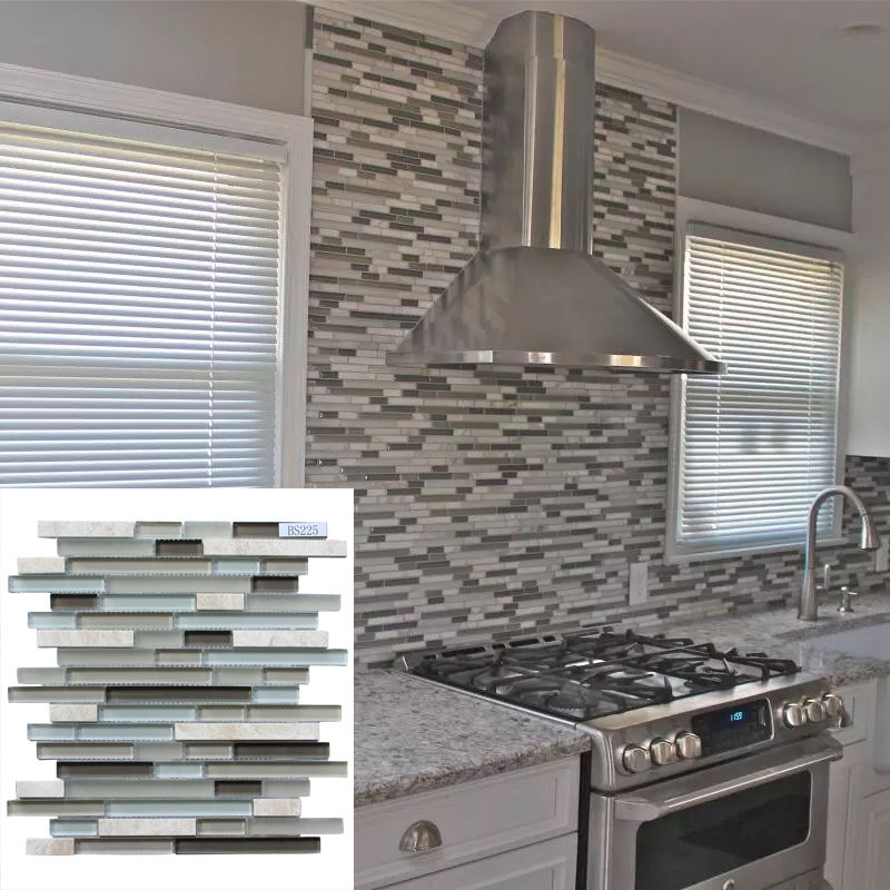 Modern construction decoration design long strip glass natural stone mosaic tile