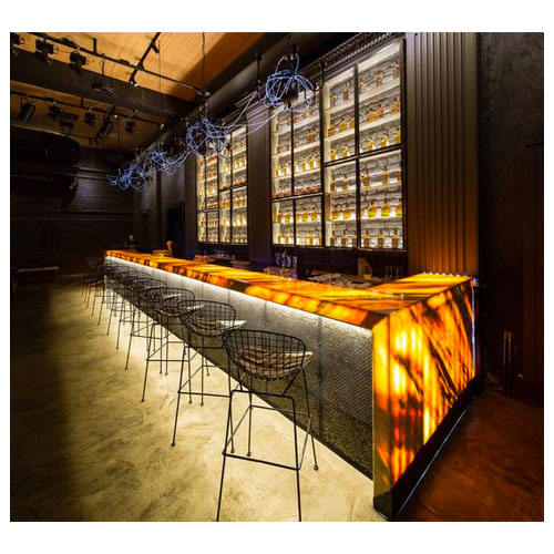 translucent marble stone wine restaurant cocktail smoothie bar counter modern luxury led nightclub bar counter