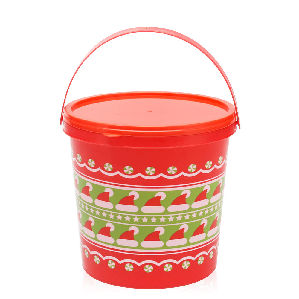 Cheap christmas candy snacks plastic buckets for sale