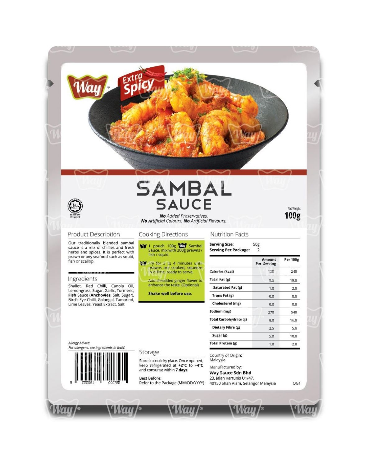 Sambal Sauce Extra Spicy Way Sauce Brand Food Seasoning Manufacturer Spice Bag Packaging Refined Processing Ready Shipping