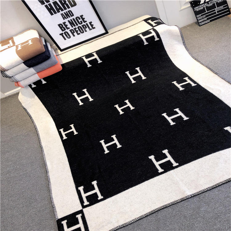 classic H letter pure wool woolen turkish cashmere throw blanket