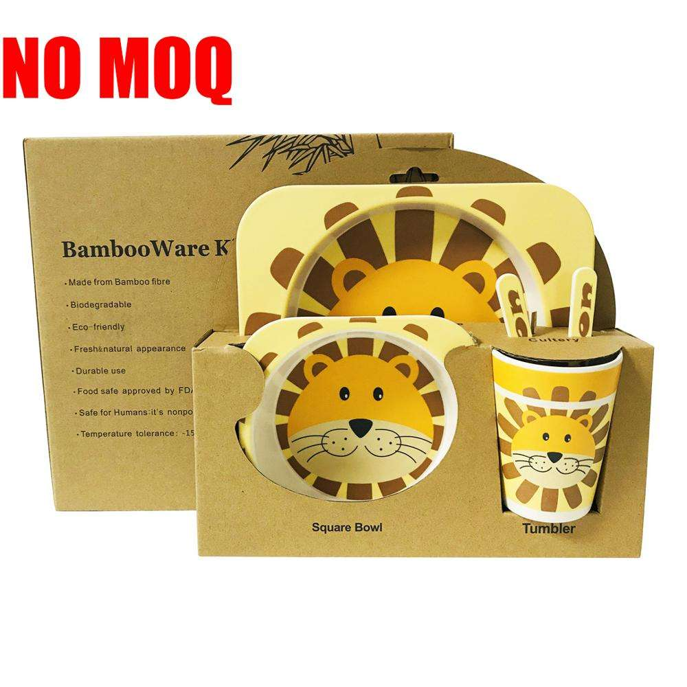 2020 Best Selling 5pcs Cute Animal Design Children rectangle Tableware Set Bamboo Fiber Kid Dinnerware Plate Set