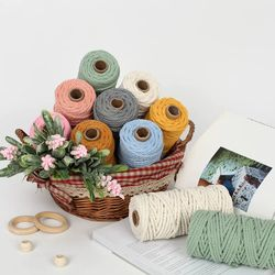 Wholesale 4mm colored craft cotton cord  macrame cotton twine
