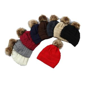 Women beanie fur ball cap pom poms winter hat for women girl 's hat knitted beanies cap brand new thick female cap