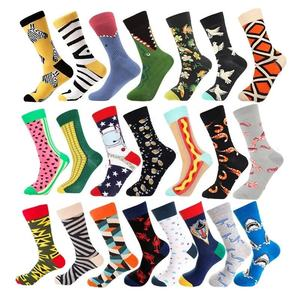 Wholesale custom logo high quality colorful happy crew cotton men socks