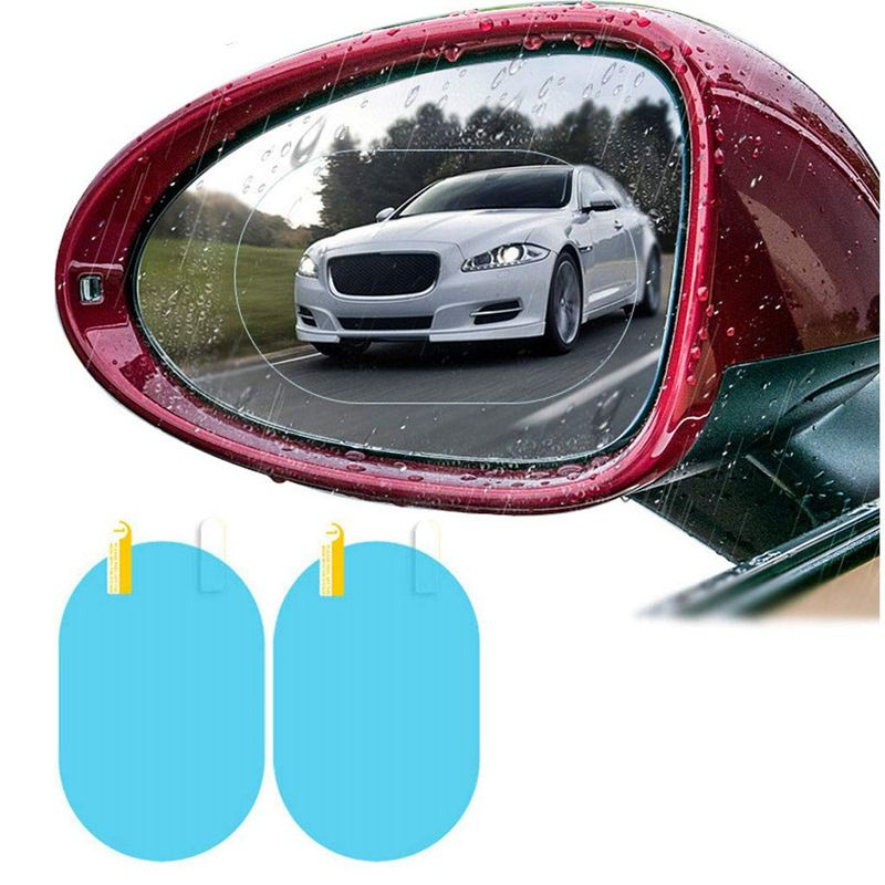 2pcs Anti Rain Fog Protective Film Glare Waterproof Clear Film For Car Rearview Mirror