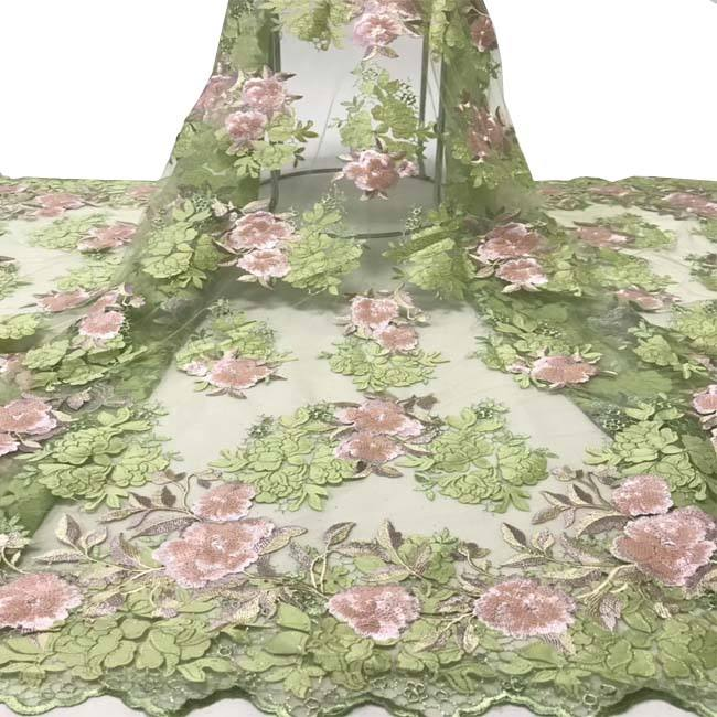 flower pattern tulle french 3d lace fabric embroidery